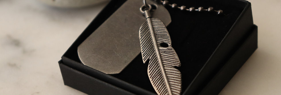 Feather Tag Necklace
