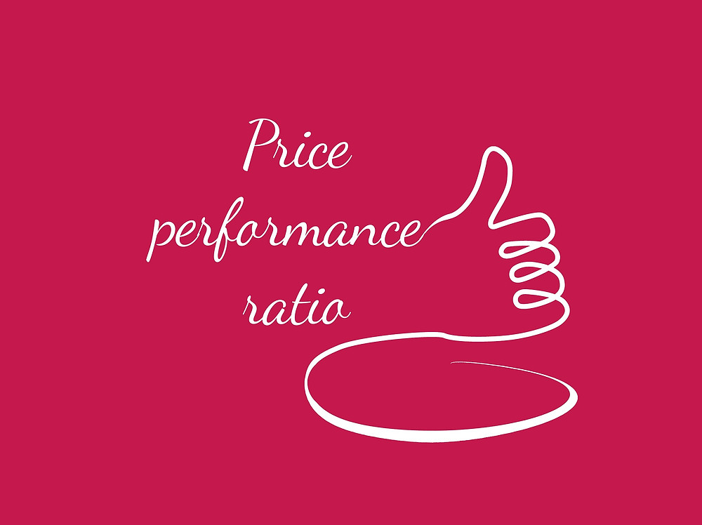 """A red background with a white line writing """"Price-performance ratio"""" in cursive and  forming a thumb up."""