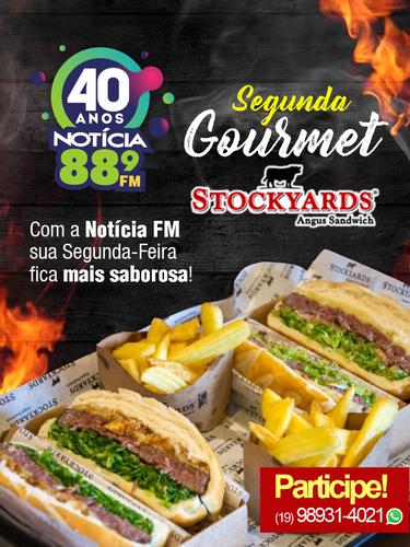 """Segunda Goumert """"STOCKYARDS Angus Sandwich""""  Com a Notícia FM a sua Segunda Feira é mais saborosa! Toda segunda rola sorteio de vários combos durante a nossa programação.  STOCKYARDS da Av Brasil"""