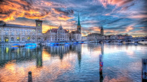Burning Sky Over Zurich (HDR)