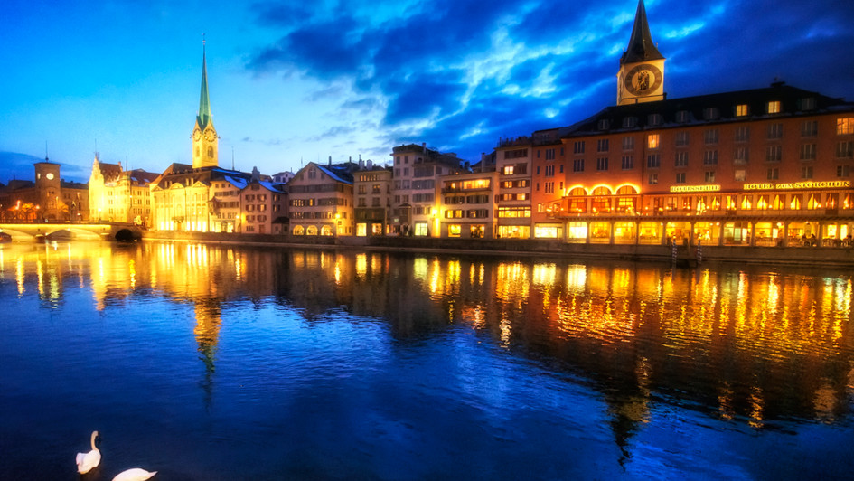 Zurich by Night - with Swans (HDR) [Explored]