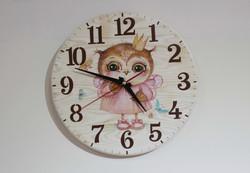 Часы с Совушкой (массив сосны, ручная роспись)_edited