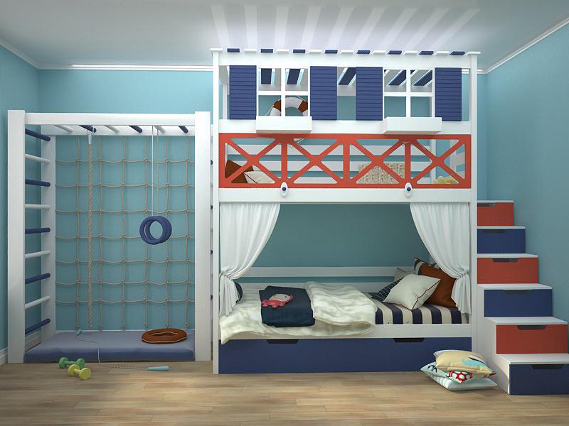 проект детской мальчика кровать 2х ярусн