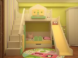 кровать-домик с горкой удобной лестницей