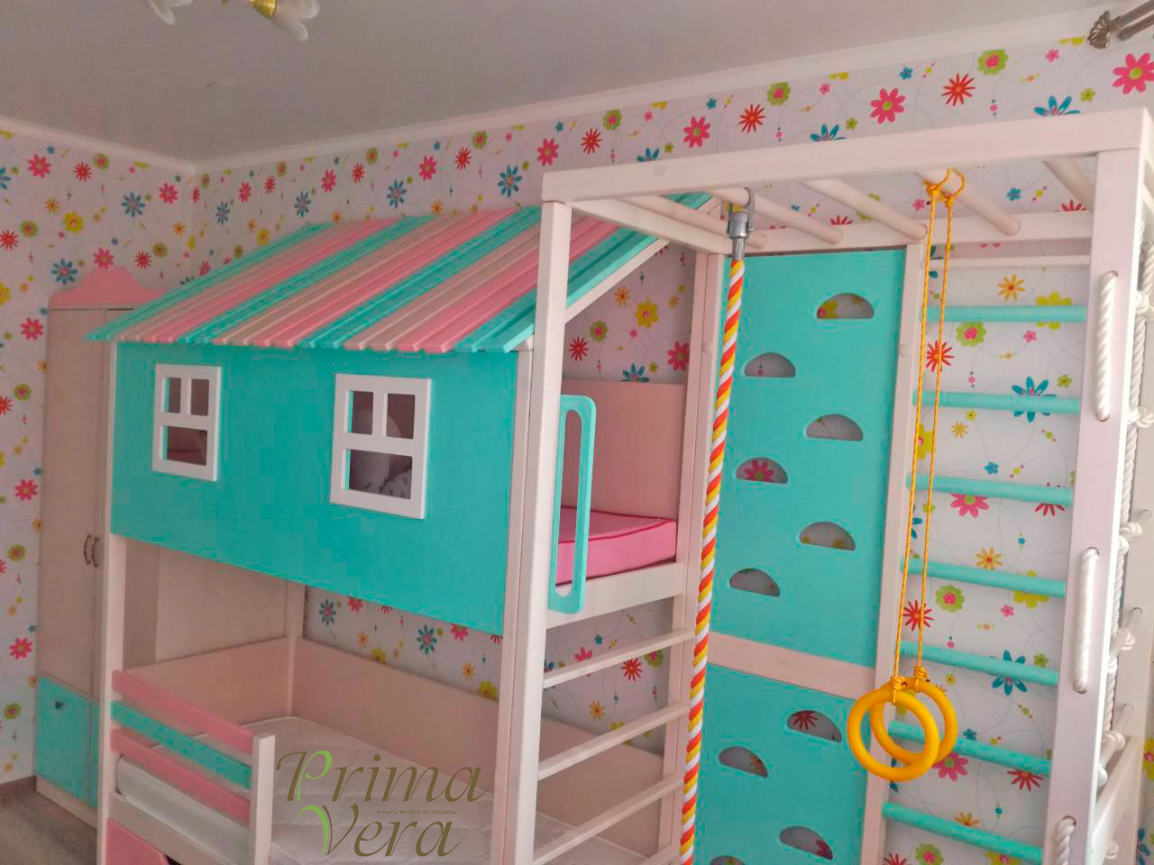 спортзона кровать-домик и шкаф