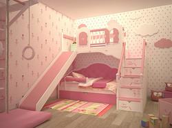 кровать с горкой для девочки на заказ с