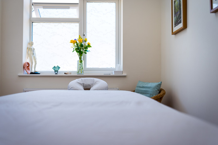 Welcoming treatment room at Boxmoor Acupuncture