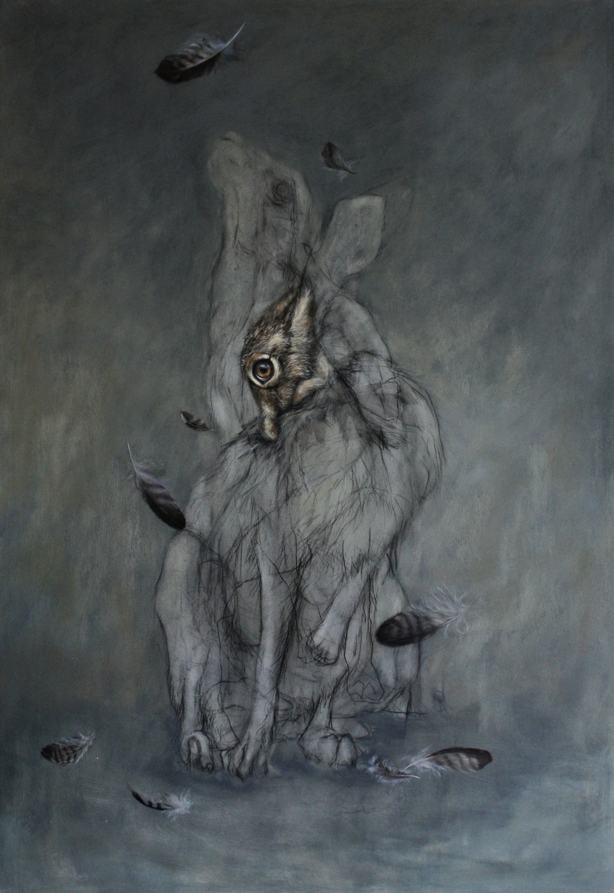 'Hare with Buzzard feathers.'