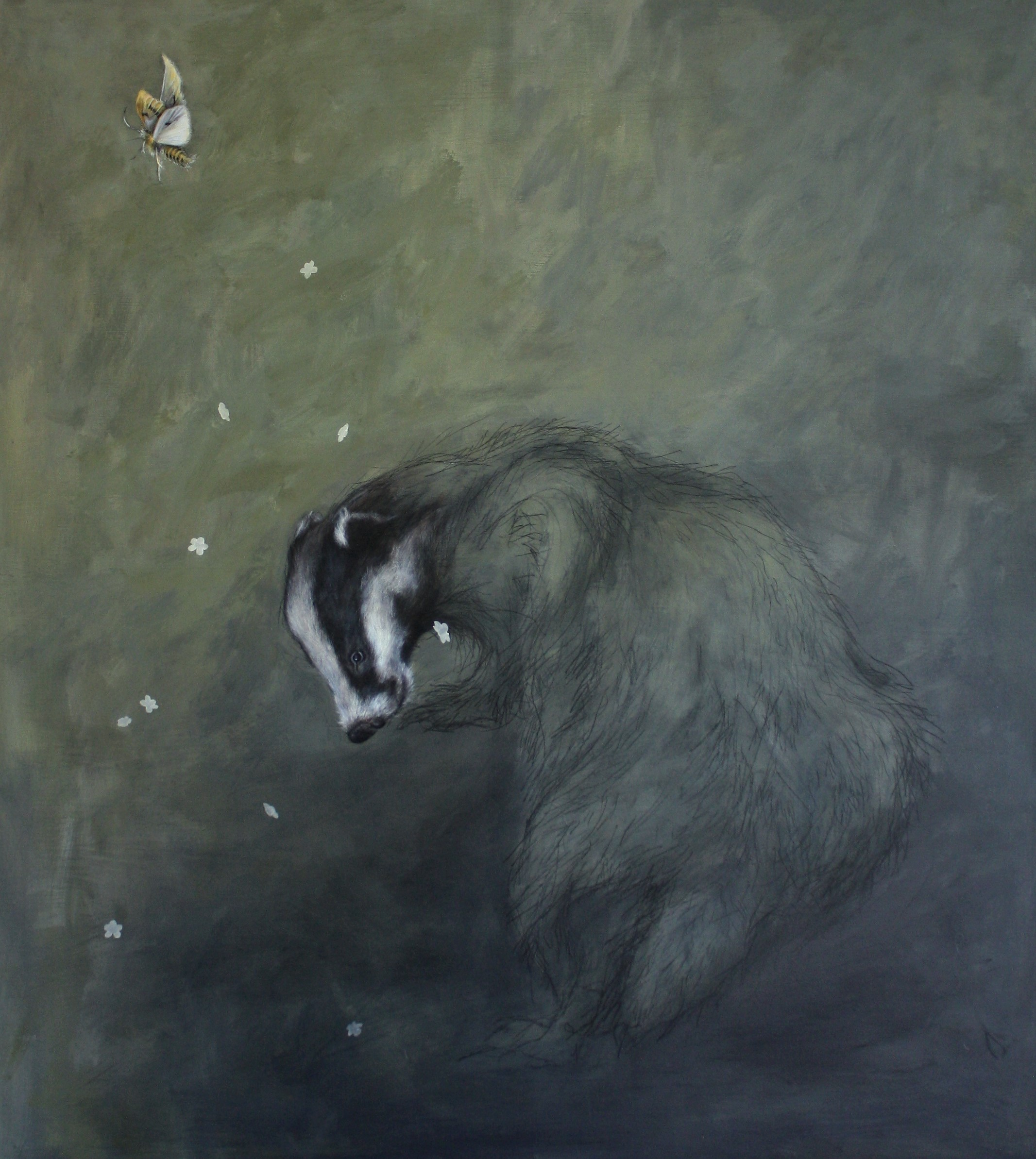 badger with elderflowers and moth