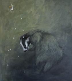 badger with elderflowers and moth