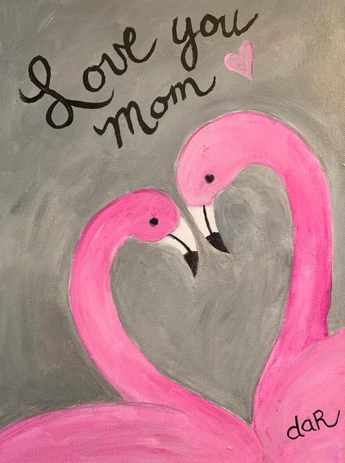 LOVE YOU MOM FLAMINGOS