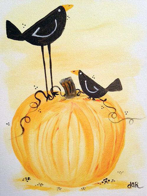 Crows on Pumpkin