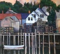 Sarah Knock oil painting of Vinalhaven Pier