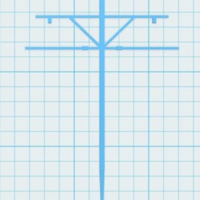 Mast mit Ausleger zweiseitig Höhe 58 mm
