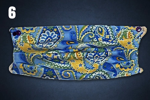 Blue / Yellow Paisley Face Cover