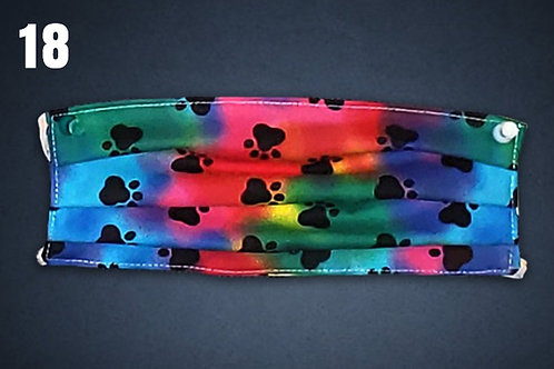 Rainbow Paw Prints Face Cover