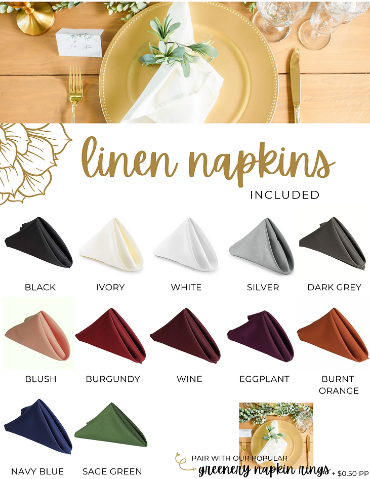 Table Twenty Five Event Rentals Linen Napkins