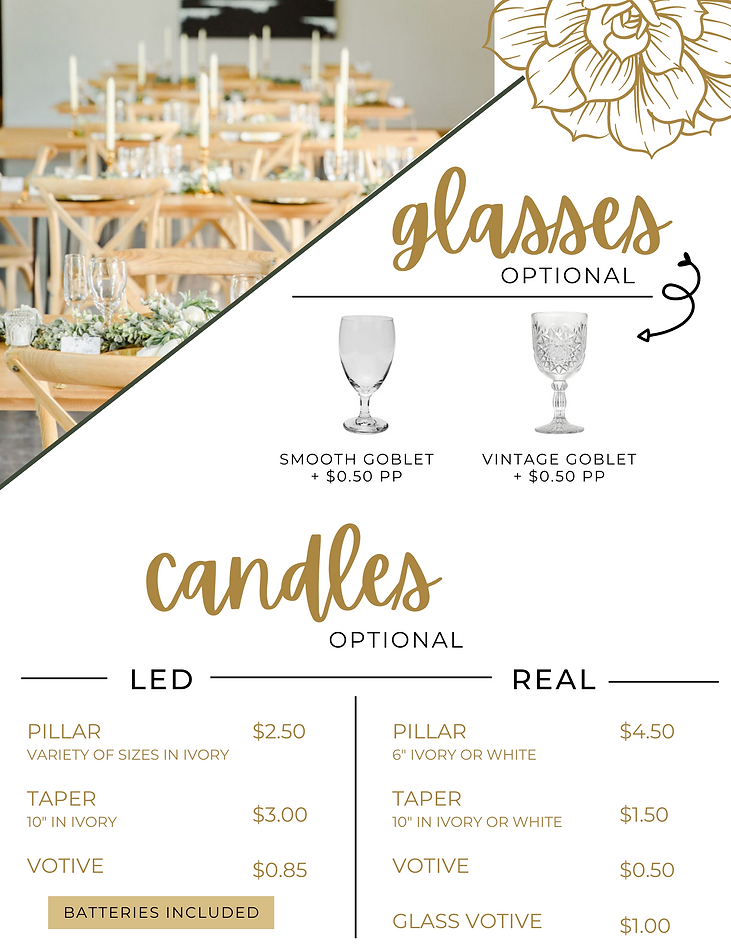 Table Twenty Five Event Rentals Glasses and Candles