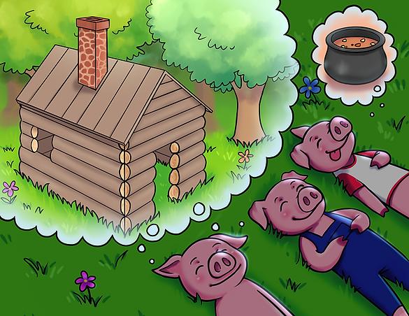 Les trois cochons et le mystérieux visiteur
