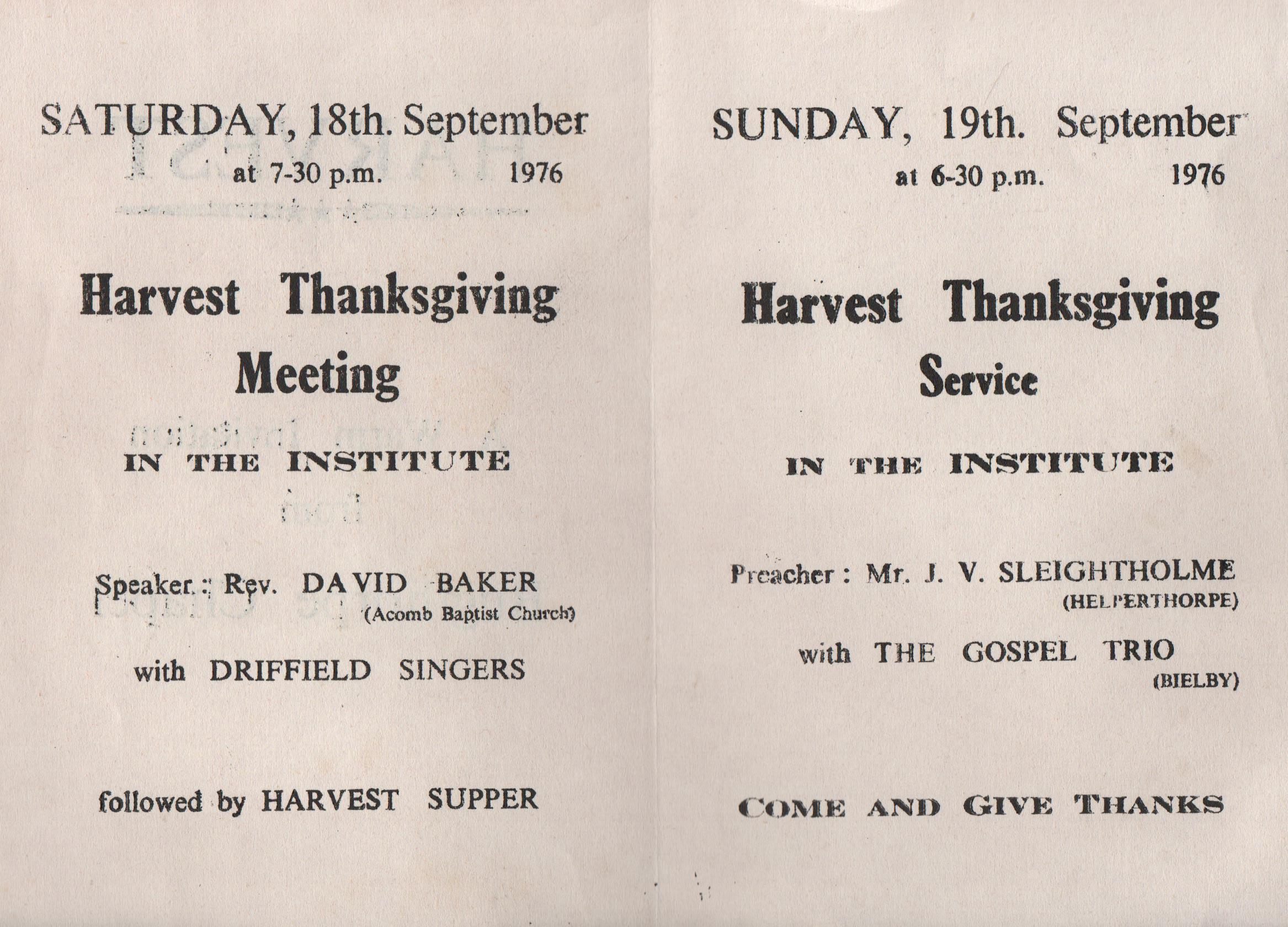 Bugthorpe Chapel Harvest Services 1976