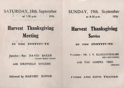 Bugthorpe Chapel Harvest Services 1976
