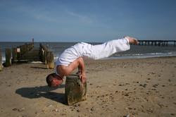 Yoga fun on the beach