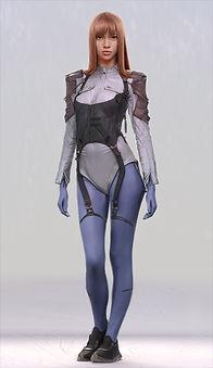 Artbreeder x Xander Smith Design Character Concept Art Costume Design Baby Blue Bionic Style