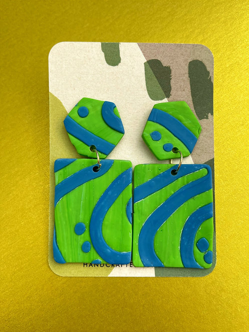 Statement Blue and Green Earrings