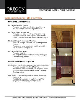End Grain Worthwood LEED Information - Oregon Lumber Company