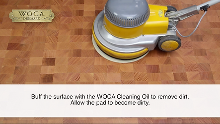 Apply WOCA Cleaning Oil With Machine