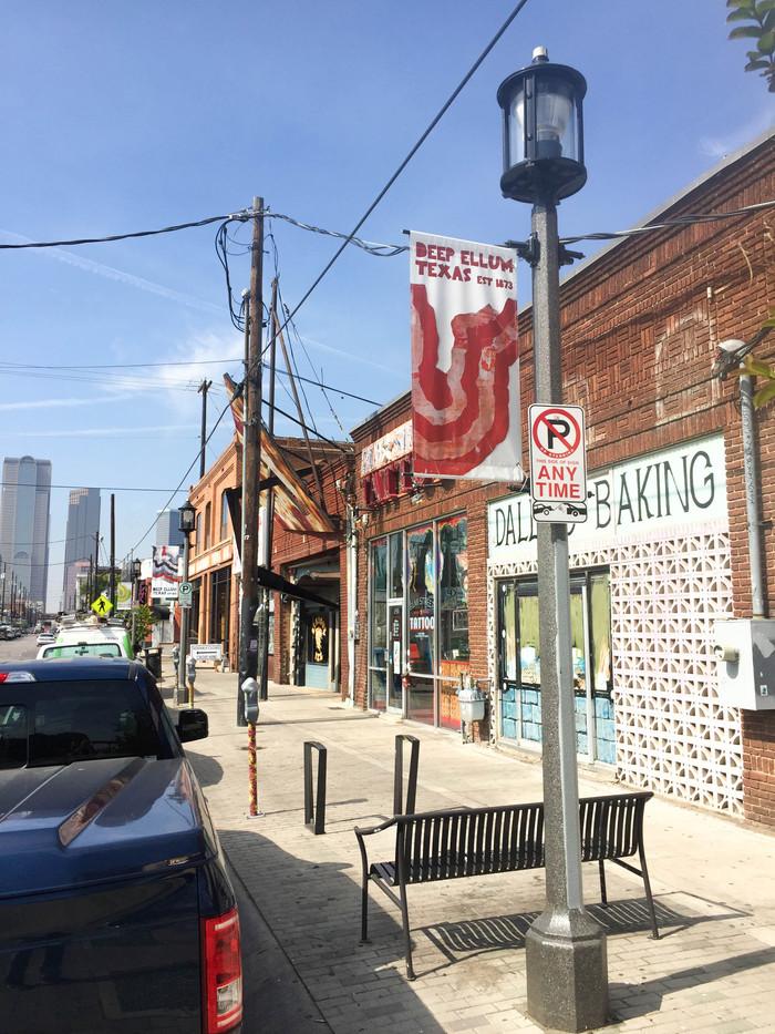 Looking down Elm Street, Dallas - Donnie Copeland Deep Ellum Foundation Banners