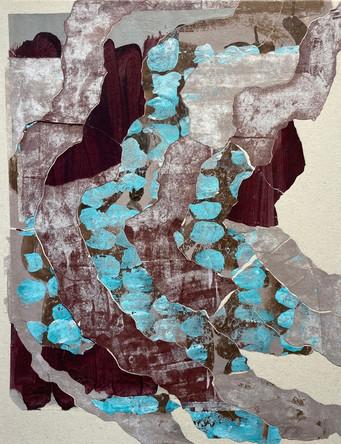 "STR123 acrylic, paper on canvas 24"" x 18 ½"""