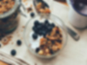 Yoghurt with granola, berries and nuts. Greek style, made with Whole or Skim milk powder
