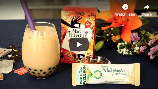 Milk powder recipe. Bubble tea made with milk powder and Madame Flavour tea