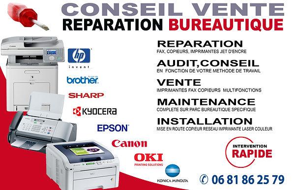 réparation imprimante multifonction photocopieur fax scanner hp brother epson oki Bordeaux