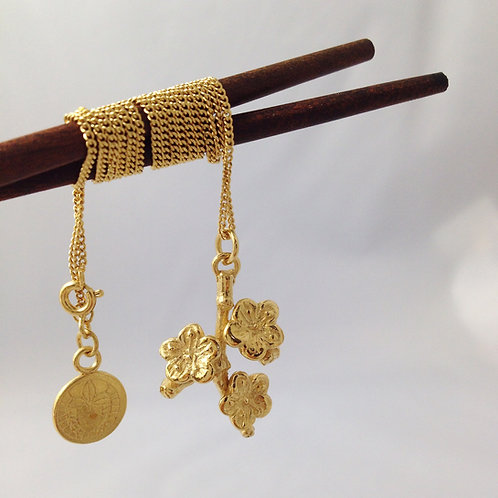 Cherry Blossom 18 Carat Gold Plated