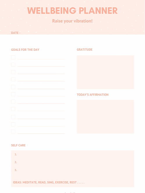 7 day wellbeing planner (Download)