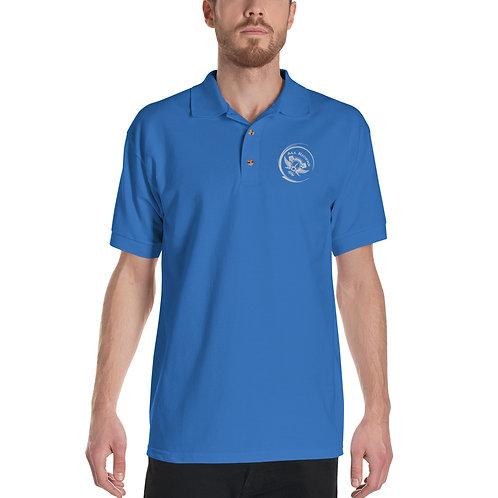 Embroidered Code Swirl Polo Shirt