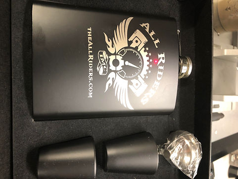 All Riders branded flask