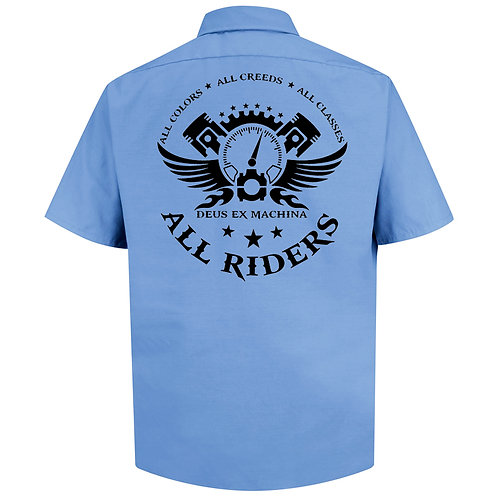 The All Riders work shirt LT Blue (Sm-XL)