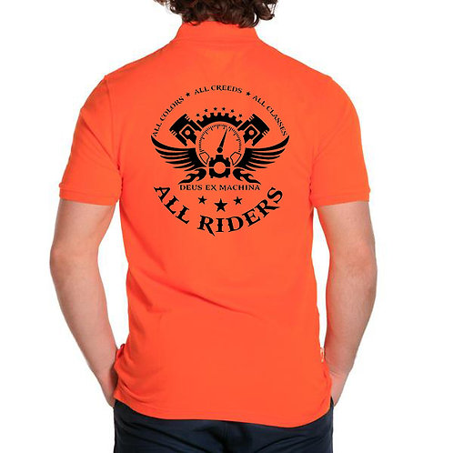 The All Riders work shirt: Hi-Viz Orange-Black (Sm-XL)
