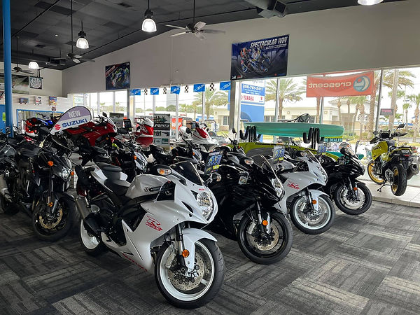 motorcycles in a showroom