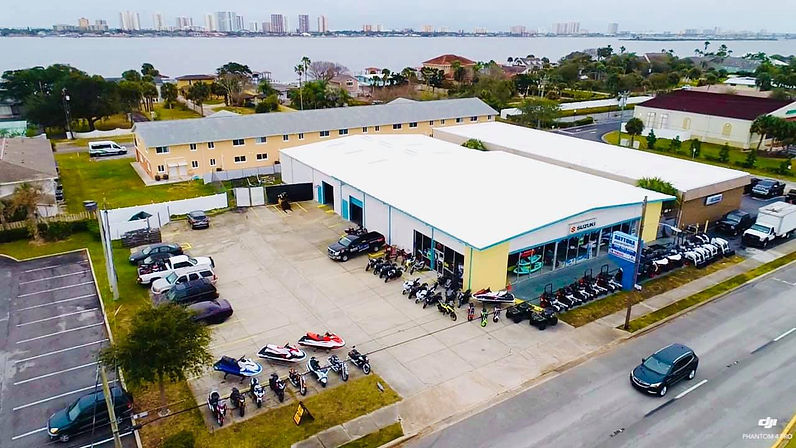 bird's eye veiw of motorycle dealership