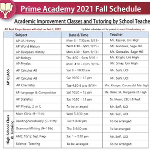 Prime Academy 2021 Fall Schedule