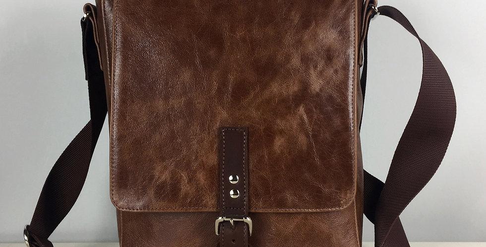 Brown leather flight bag