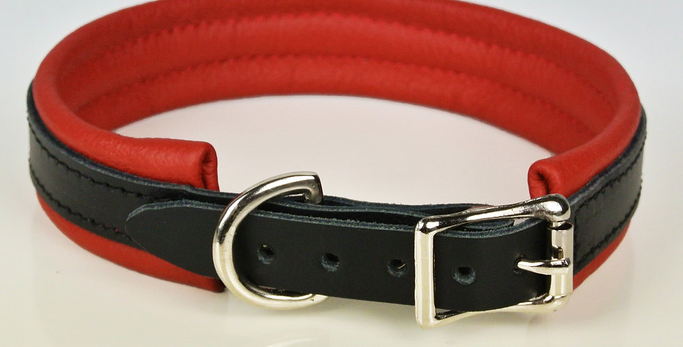 Leather Red & Black Padded Leather Dog Collar