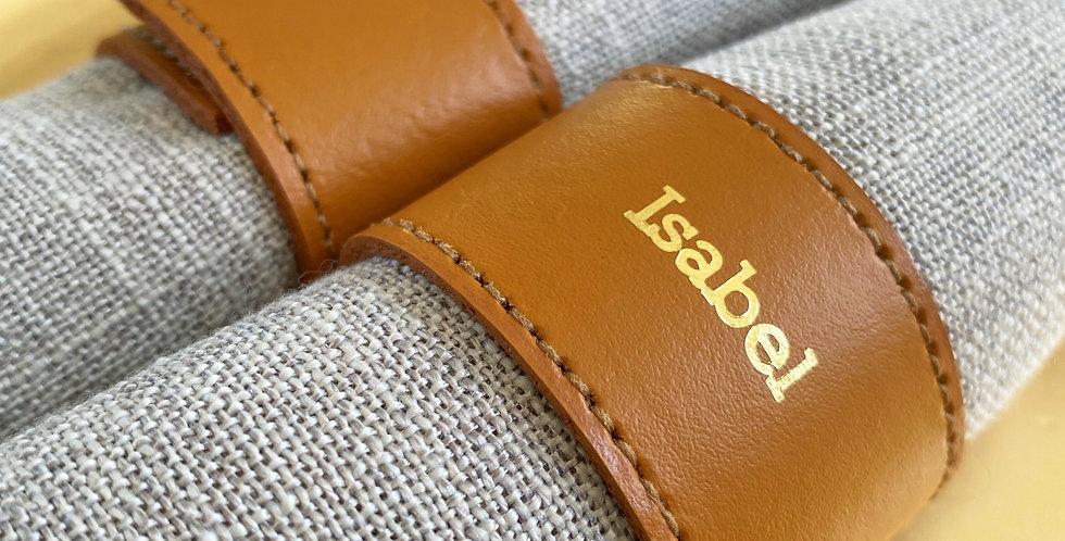 Personalised Tan Leather Napkin Rings