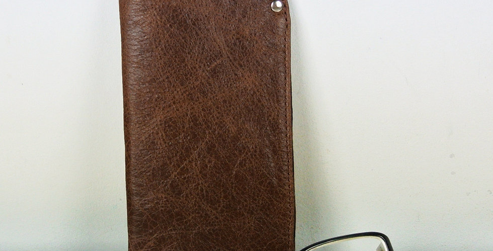 Rustic Brown Leather Glasses Case