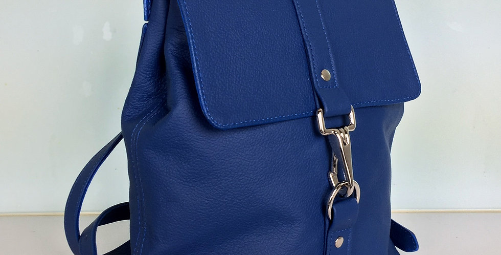 Small Leather Backpack - Blue