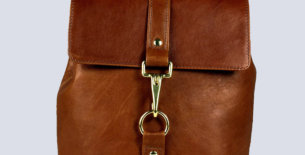 Small Leather Backpack - Caramel